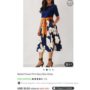 Dresses - Belted Flower Print Navy Blue Dress